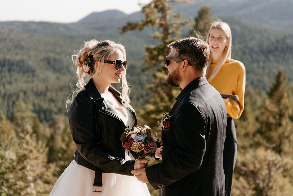 Bride and groom at their hermit park elopement
