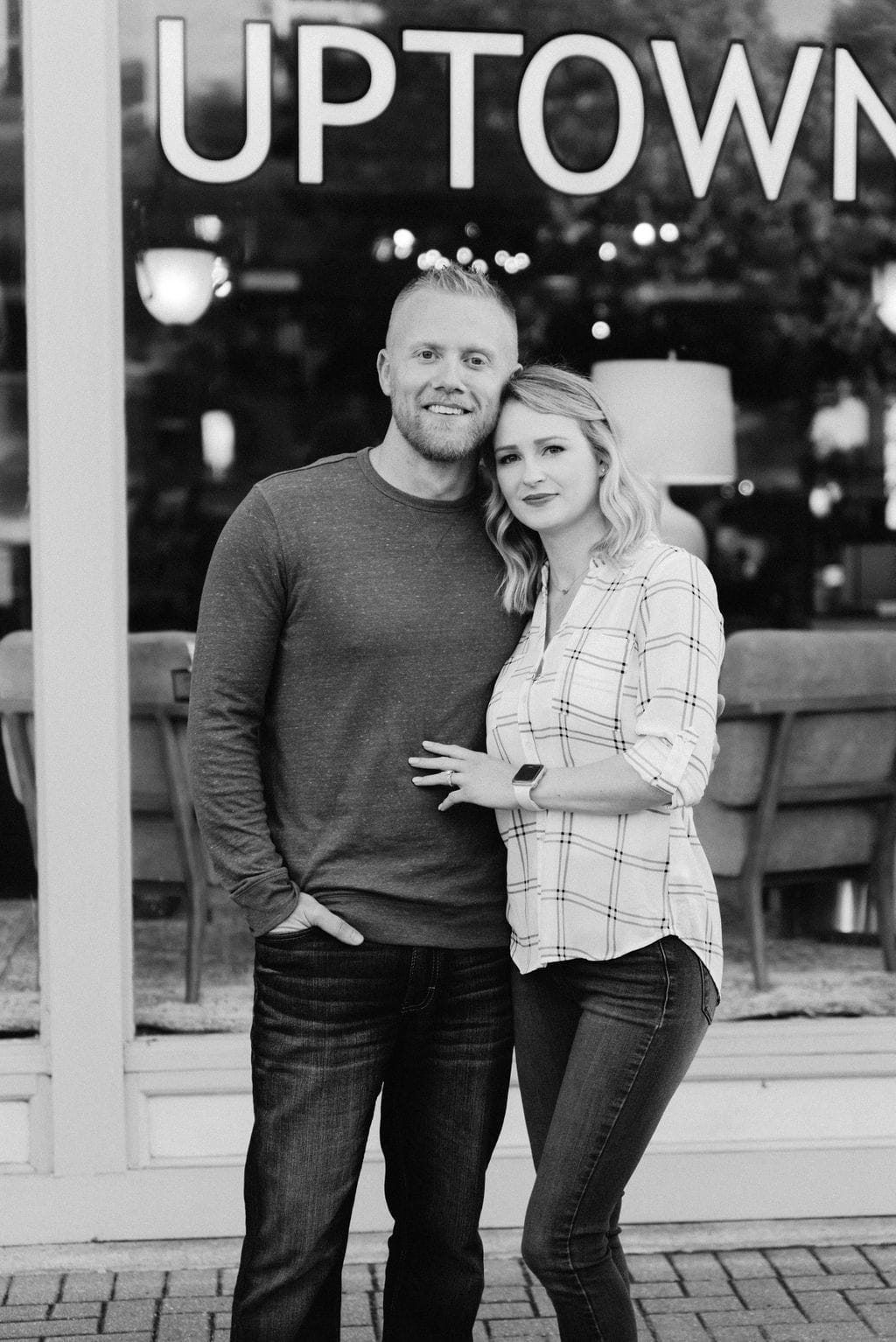 Romantic Black and White Portrait of Couple in Mckinney Texas